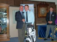 Division 1 winner Liam Hancock receiving his prize from the Club Captain. Congratulations Liam.