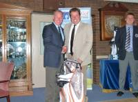 -- Division 2 winner Steve Matthews receiving his prize from the Club Captain. Congratulations Steve.